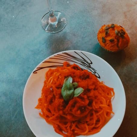 Creamy Kabocha Squash Spaghetti (vegan)