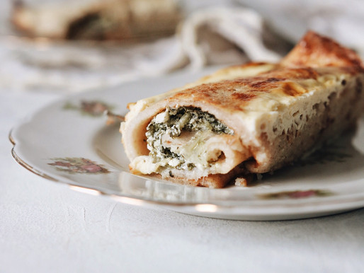 Baked Savory Crepes with Cheese and Swiss Chard