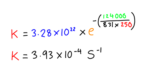 In the reaction between oxygen and nitrous oxide at 250K the activation energy is 124 kJ/mol and the exponential factor (A) is 3.28 x 1022 s-1. Calculate the rate constant for this experiment at 250K.