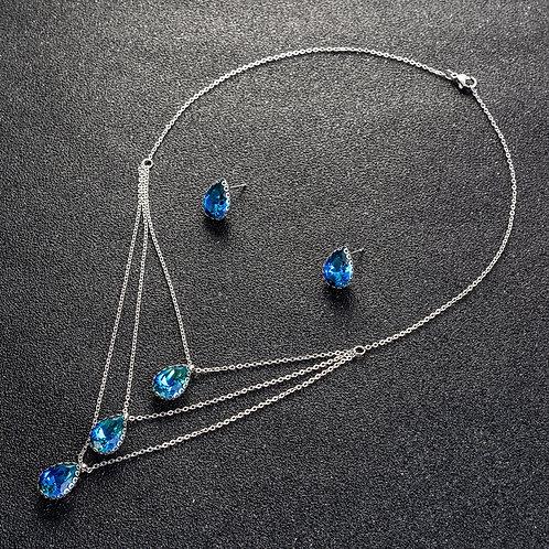 Ensembles de collier et boucles d'oreilles en Plaqué Platine