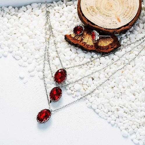 Ensembles de collier (rouge) et boucles d'oreilles en Plaqué Platine