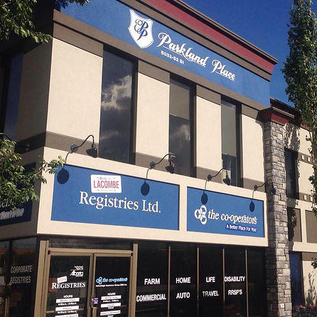 Store front of Lacombe Registries Ltd.