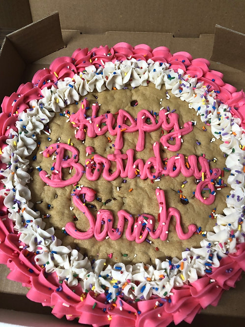 """12"""" Chocolate Chip Cookie Cake Double Border- Store Pickup Only"""