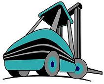 Caricatura de Mascota Azul de Kargo Montacargas