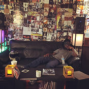 Rapper on Couch at MCM Studios Recording Studio in Pittsburgh PA