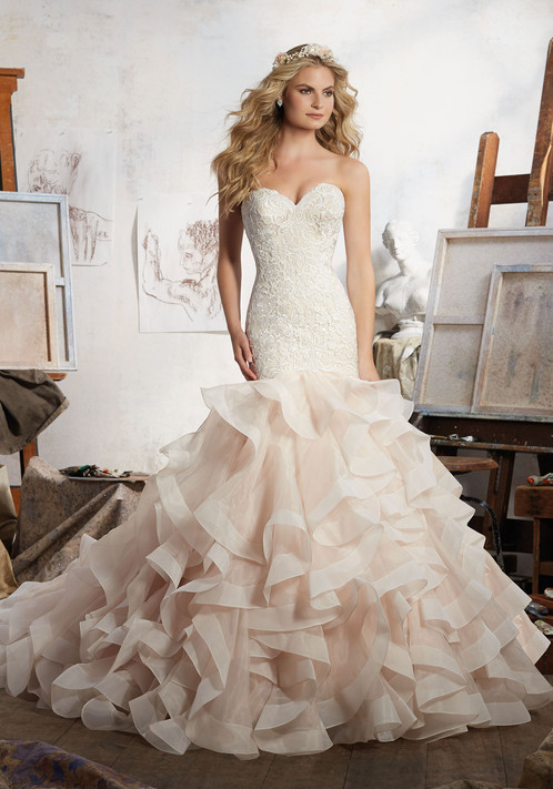 Stunning Mermaid Wedding Dress Featuring Allover Embroidery On Net With Horsehair Edged Flounced Organza Skirt Covered Buttons Along Back