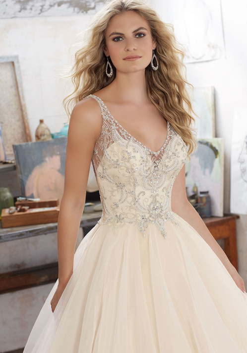 Bridal Ballgown Features Crystal Beaded Embroidery On Net With A Billowy Flounced Organza Skirt Open V Illusion Back Accented Covered