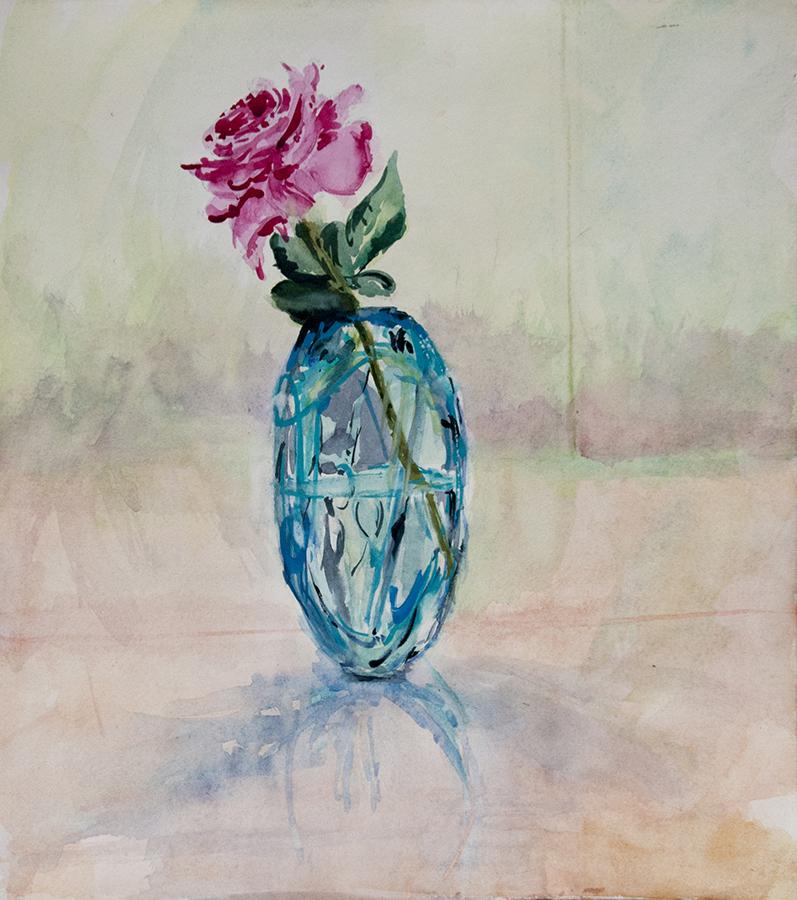 Garden Rose In Turquoise Vase