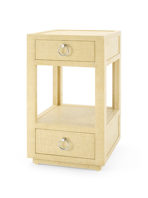 Camilla 2-Drawer Grass Cloth Side Table in Straw