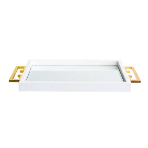Avondale White Lacquer Mirrored Tray with Handles