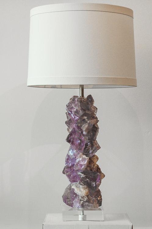 Pair of Purple Quartz Rock Lamps