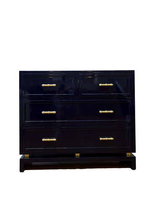 Declan Navy Lacquer 4-Drawer Chest