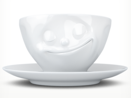 """Happy"" White Coffee Cup"