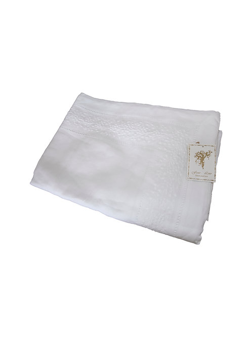 100% Linen White Tablecloth + 12 Napkins