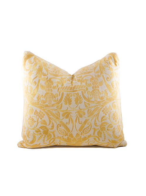Pair of Large Fortuny Yellow Pillows