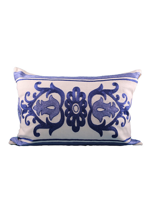 Embroidered Blue Tile Pillow