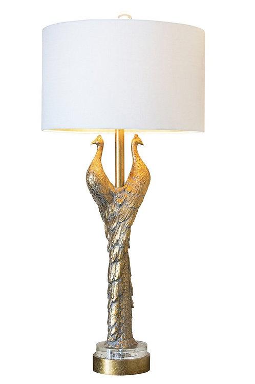 """38.5"""" Golden Peacocks Table Lamp"""