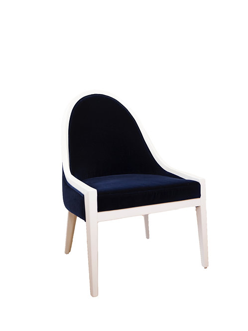 Browning White Lacquer with Navy Velvet Chair