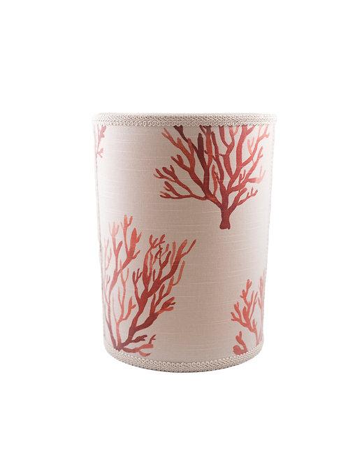 Linen Seaweed Coral Wastebasket