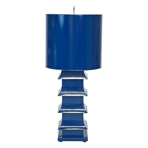 "30"" Large Tole Painted Pagoda Table Lamp"