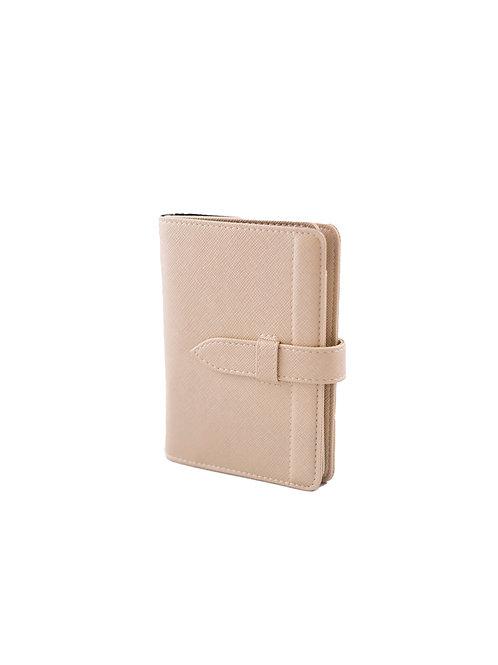Worldly Beige Leather Passport Holder
