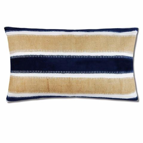 Lee Navy Velvet and Burlap Pillow