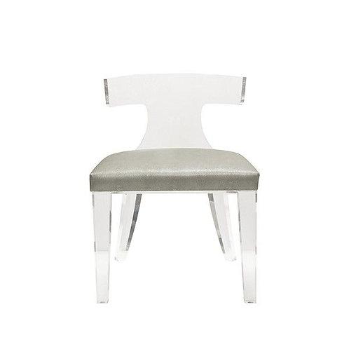 Duke Acrylic Klismos Chair with Faux Grey ShagreenCushion