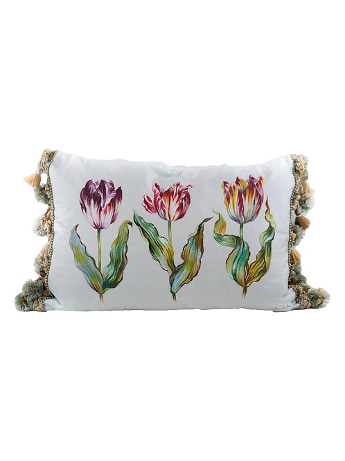 Hand Painted 3 Tulips on Silk Pillow