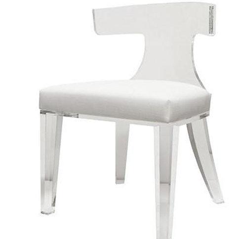 Duke Acrylic Klismos Chair with White Linen Cushion