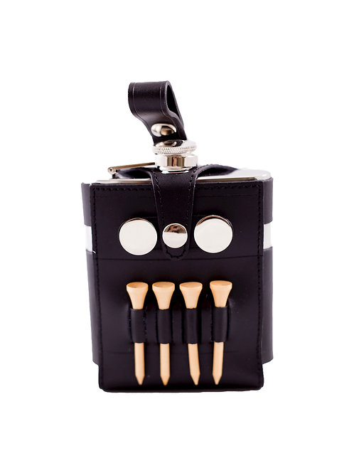 The Teed Up Black Leather Flask