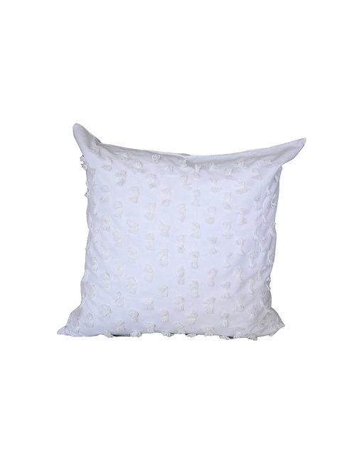 Pair of White Eyelash Euro Pillows