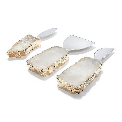 Crystal-Gold 3 Piece Kiva Cheese Set