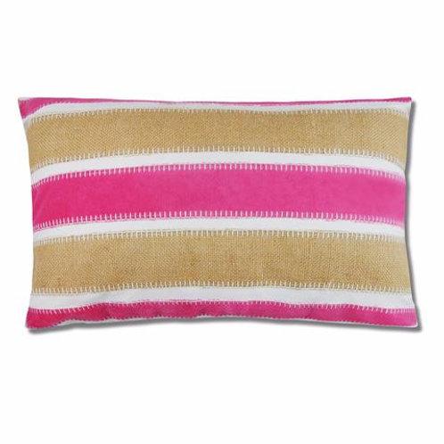Lee Fuchsia Velvet andBurlap Pillow