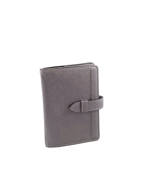 Worldly Grey Leather Passport Holder
