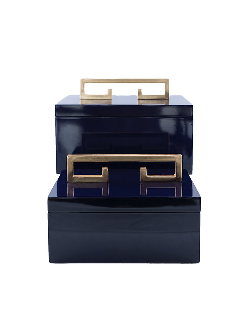 Pair of Indigo Blue Lacquer Avondale Boxes