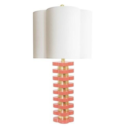 "32"" Quatrefoil Coral Table Lamp"