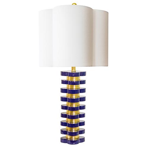 """32"""" Quatrefoil Indigo Blue Table Lamp"""