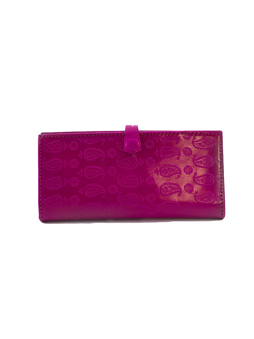 Paisley 2 Way Red Leather Wallet
