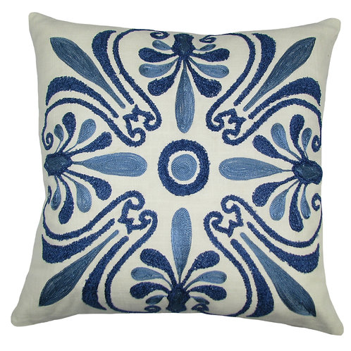 Embroidered Blue Jaipur Pillow