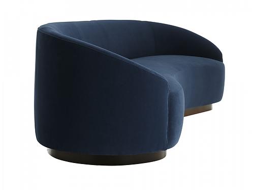 Turner Indigo Velvet & Dark Walnut Sofa