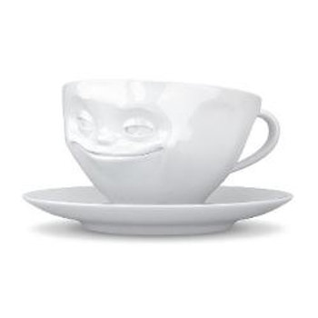 """""""Grinning"""" White Coffee Cup"""