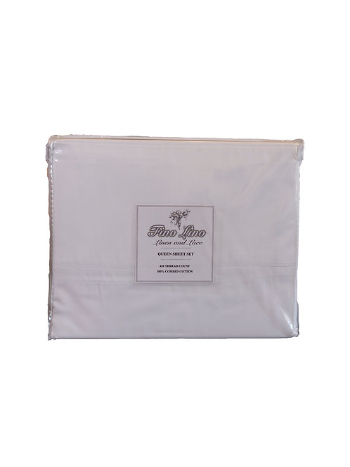 4pc White Queen Cotton Sheet Set 420TC made in Italy