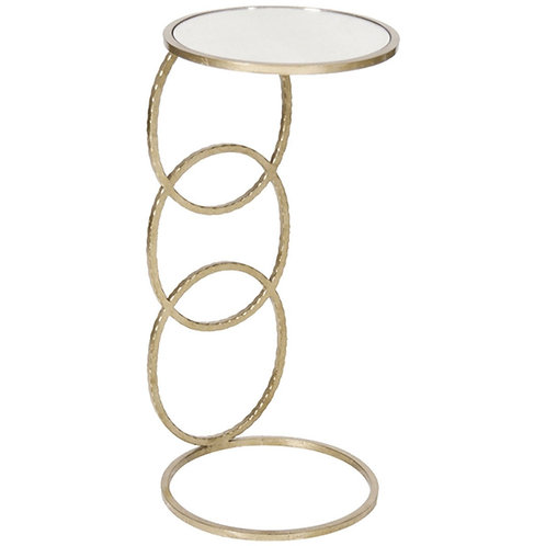 Lola 3-Ring Hammered Gold or Silver Leaf Side Table