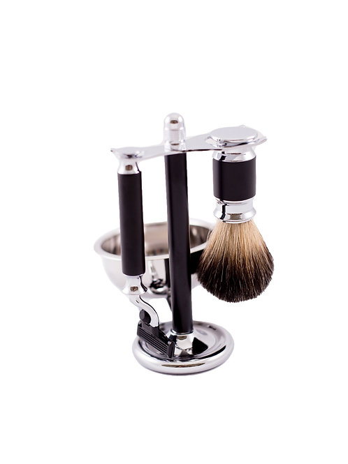 Royal Bet Chrome Black Shaving Set