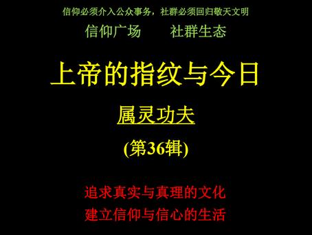 """《上帝的指纹与今日》第36辑:""""属灵功夫""""-讲义下载"""