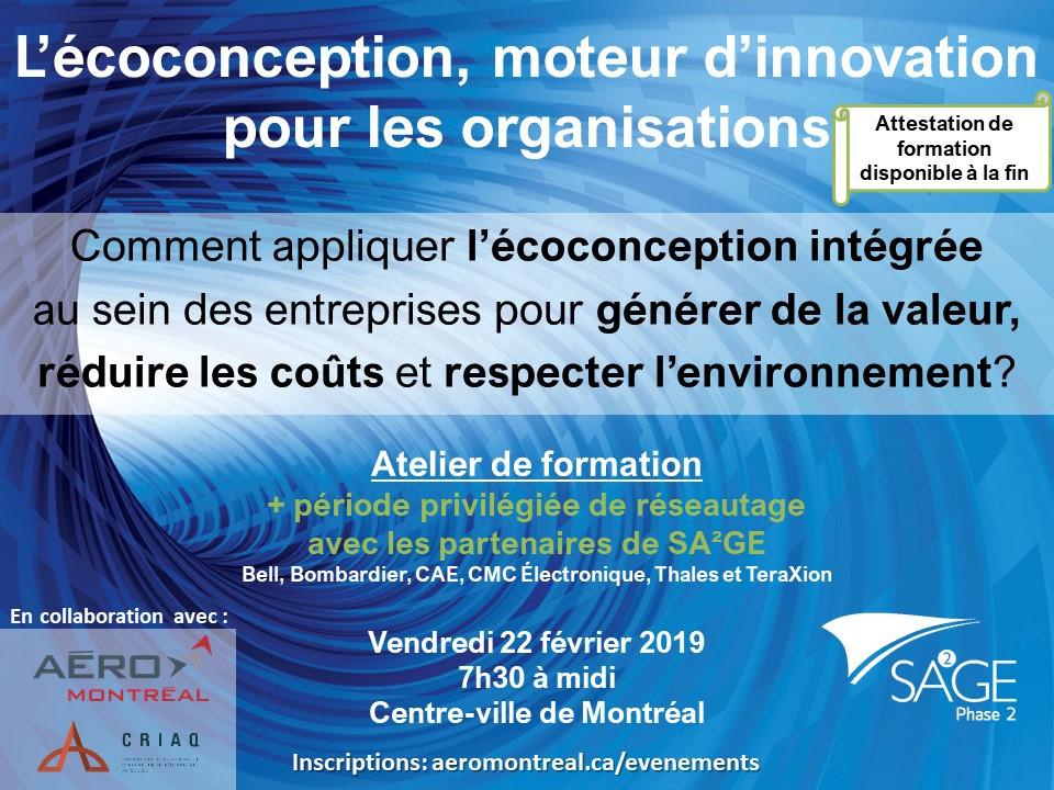 SA²GE-2 Invitation 22 février 2019 L'écoconception, moteur d'innovation pour les organisations