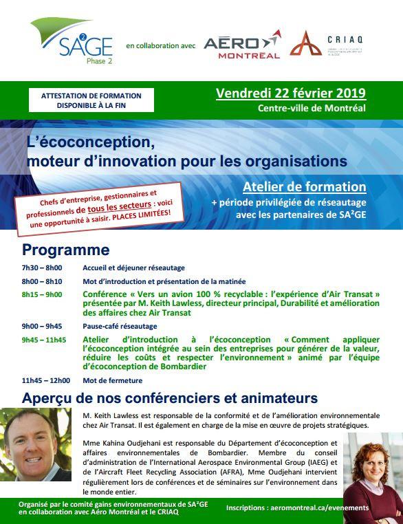 SA²GE-2 Event 2019 Ecodesign Agenda
