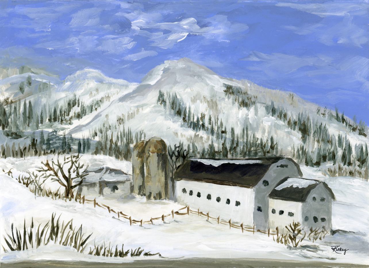 deer valley winter painting Katie Trokey
