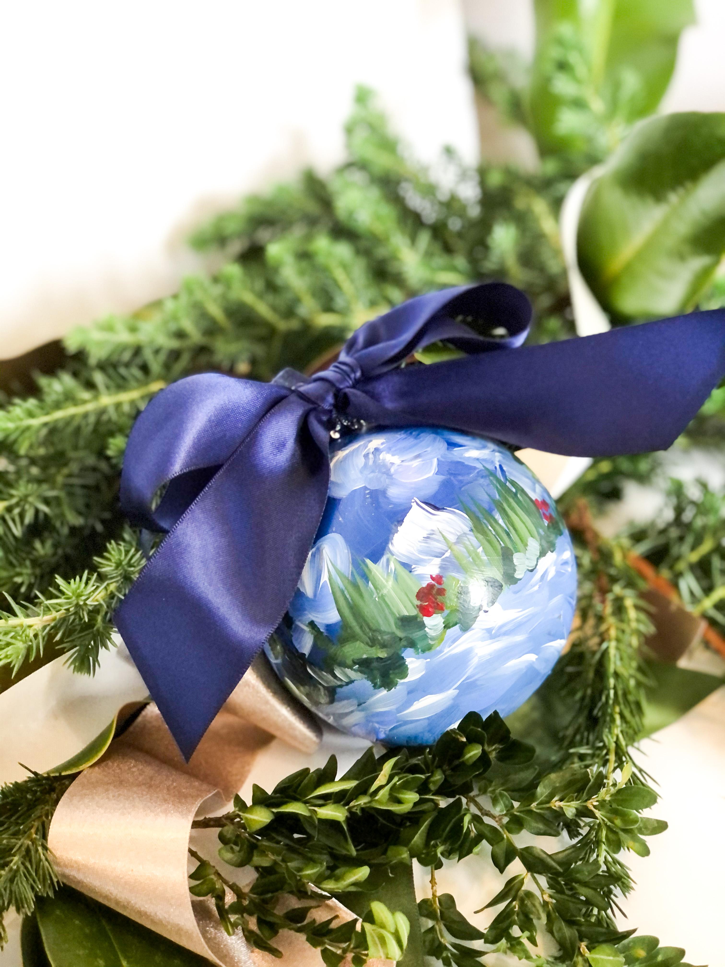 ornament blue ribbon