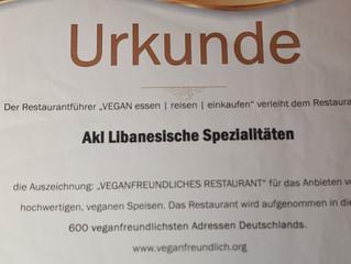 Urkunde für Akl: Veganfreundliches Restaurant